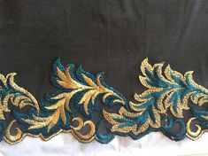 Embroidered lace on tulle black slightly spandex 18 cm wide made by the yard Embroidered lace on tulle black slightly spandex Embroidered lace on tulle black slightly spandex Cutwork Saree, Cutwork Embroidery, Embroidery Works, Embroidered Flowers, Embroidery Suits Design, Machine Embroidery Designs, Embroidery Patterns, Lace Border, Thread Work