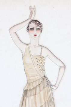 Archive List   Kerry Taylor Auctions Fashion Illustration Vintage, Fashion Illustrations, Fashion Art, Vintage Fashion, Flappers, 1920s, Archive, Auction, Art Deco