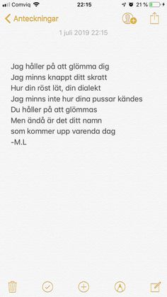 Jag glömmer dig just nu - Swedish Cute Quotes, Sad Quotes, Lyric Quotes, Qoute, Mixed Feelings, Different Quotes, Depression Quotes, Heartbroken Quotes, What Is Love