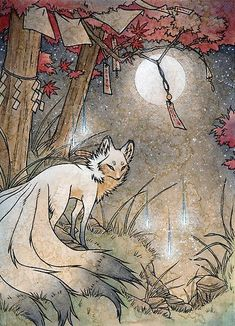 Japanese Tattoos 597641813026952937 - A kitsune pauses underneath a Japanese maple. – – – – – – – – – – – – – – Overall Size: inches Finish: Matte Edition: Open Border: Source by yukisakatays Mythical Creatures Art, Mythological Creatures, Fantasy Creatures, Folklore Japonais, Art Japonais, Art Anime, Anime Kunst, Art And Illustration, Fantasy Kunst