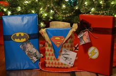 Superhero gift wrap!  Easy and fun!