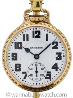 """Hamilton Railroad pocket watch grade 992 movement serial # million circa Featuring 16 size yellow gold filled open face case in very nice condition. With very pleasing """"double s… Wind Up Pocket Watch, Railroad Pocket Watch, Old Pocket Watches, Pocket Watch Antique, Antique Watches, Vintage Watches, Hamilton Pocket Watch, Watch Crown, Roman Jewelry"""
