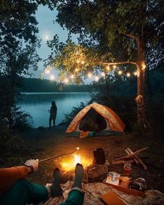 Camping by the lake.