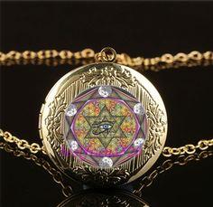 Eye of Horus Photo Cabochon Glass Gold Plating Locket Pendant Necklace #Handmade #Locket
