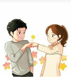 Love Cartoon Couple, Cute Love Cartoons, Cute Couple Art, Anime Love Couple, Cute Anime Couples, Cute Cartoon, Anime Couples Drawings, Couple Drawings, Anime Best Friends