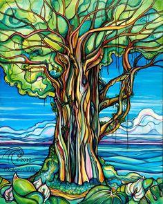 Colleen Wilcox Art http://cwilcoxart.blogspot.com.br/2013/01/enchanted-banyan-tree-of-life.html