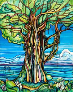 Colleen Wilcox Art http://cwilcoxart.blogspot.com.br/2013/01/enchanted-banyan-tree-of-life.html