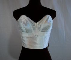 1950s White Satin Exquisite Form Strapless Long Line Bra 36 B
