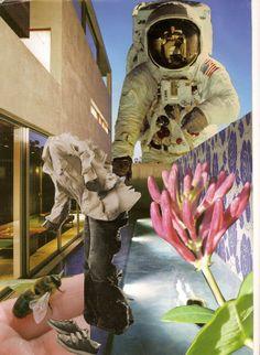 1A 1B: surrealistische collage tijdschriftenpapier