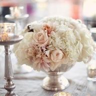 Platinum, Ivory, & Blush Centerpiece