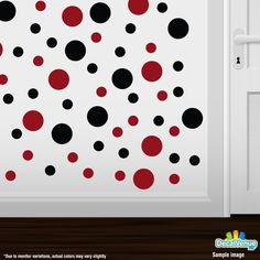 Black / Red Polka Dot Circles Wall Decals #decals #stickers #decalvenue