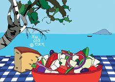 Horiatiki: l'autentica insalata greca - Slow Food - Buono, Pulito e Giusto. Salad Drawing, Food Drawing, Illustrations, Illustration Art, Greece Art, Greek Culture, Poster Pictures, Greek Salad, Slow Food