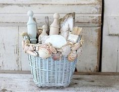 Seashells and rope to transform an old basket