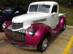 Vintage Trucks Classic Another Valentine's Day Chevy pickup. like a raspberry color. weird because i hate pink 1946 Chevy Truck, Chevy Trucks Older, Chevy Pickup Trucks, Classic Chevy Trucks, Chevy Pickups, Chevrolet Trucks, New Trucks, Custom Trucks, Cool Trucks