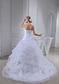 crystals lace ball gown lace-up sleeveless cathedral train white wedding dress - Whoboxdress.com