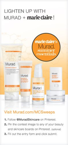Pin for your chance to win in the Murad & Marie Claire Summer Skincare Essentials Sweepstakes! #MCSummerSweeps #sweepstakes #giveaways #pinterestsweepstakes #pinittowinit