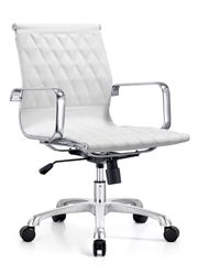This diamond stitched white leather conference room chair with mid back design from the Woodstock Marketing Annie collection is a best seller. The Woodstock Marketing Annie series mid back chair makes the perfect addition to contemporary meeting evnrionemtns, as well as executive office interiors.