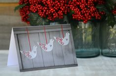 Christmas Card - Red Dove Trio