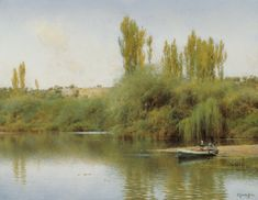 On the Banks of the Guadaíra with a boat, Emilio Sanchez-Perrier, century landscape oil painting, Illustration Art Gallery Green Landscape, Landscape Art, Landscape Paintings, Art Espagnole, Spanish Painters, Grand Canal, Traditional Paintings, Painting & Drawing, Drawing Drawing