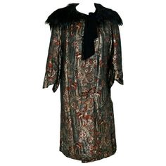 Preowned 1920's French Haute-couture Metallic-lame & Monkey-fur... ($2,800) ❤ liked on Polyvore featuring outerwear, coats, black, 1920s coat, evening coat, vintage neckties, neck ties and vintage coat