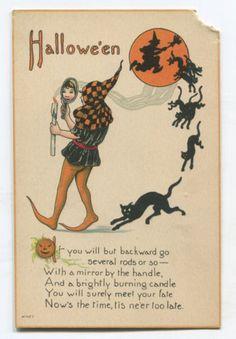 Vintage-Halloween-Postcard-Black-Cats-Costume