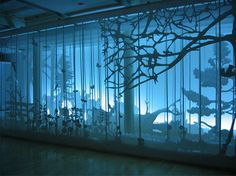 "Garden of Delight, Sounds of Silence, 2006 ""Invited by Droog Design, we designed based on the first part of the Sounds of Silence Series for their presentation ""Garden of Delight"" an additional paper forest for the Milan International Furniture Fair. Exhibition Display, Exhibition Space, Museum Exhibition, Interaktives Design, Light Art Installation, Projection Mapping, Stage Set, Scenic Design, Design Museum"