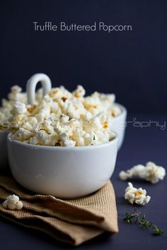 Truffle Butter, Parmesan and Thyme Popcorn – This popcorn recipe has gourmet flavors but it's so easy to make. It's the perfect treat to serve to your friends on movie night!