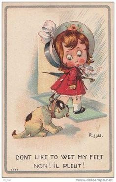 """Belle CPA Illustrateur Signé RIGHT Fillette Et Son Chien Refus De Promenade """" Non Il Pleut  ! """""""