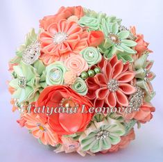 Fabric Wedding Bouquet Brooch bouquet Peach and mint от LIKKO