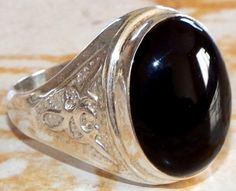 925 sterling silver black onyx gemstone middle eastern jewelry men rings 10.5 S