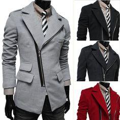 Men's Diagonal Zip Front Suit Jacket in Light Grey, Cardinal Red, Dark Navy Blue, & Basic Black.