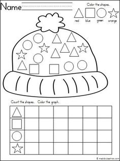winter hat theme graphing shapes activity