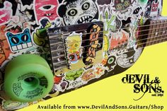 Instagram #skateboarding photo by @devilandsons - Skateboard Guitar - our original prototypes are now up for sale on http://ift.tt/1XswOh5  #customguitar #guitar #devilandsons #skateboarding #skateboardart #skateboard #skateguitar #stickerbombed #prototype #sale. Support your local skate shop: SkateboardCity.co