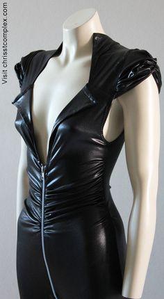 Catsuit Cat woman Pvc black Biker Latex Look.  Chrisst's black leather look soft pvc Catsuit. Chrisst SPECIAL ETSY PRICE