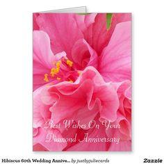 Hibiscus 60th Wedding Anniversary Greeting Card