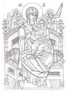 Фотографии Марины Стеблиной Madonna, Coloring Books, Coloring Pages, Linear Art, Byzantine Icons, Art Icon, Orthodox Icons, Kids Church, Sacred Art