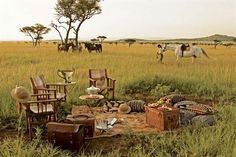 picnic in Serengeti National Park, Tanzania Picknick im Serengeti Nationalpark, Tansania Safari Photo, British Colonial Decor, Serengeti National Park, Safari Chic, Campaign Furniture, Out Of Africa, Game Reserve, To Infinity And Beyond, African Safari