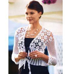Crochet padrão jaqueta, design requintado, festa de crochet padrão jaqueta, jaqueta de casamento padrão crochet, descrição detalhada em Inglês.