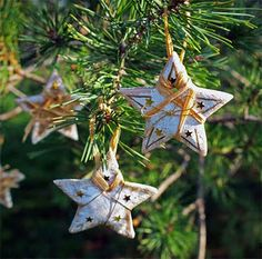 Hand-made salt dough Christmas stars