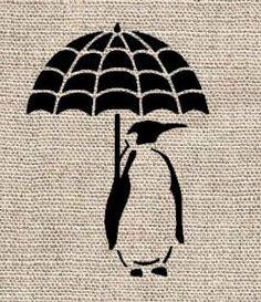 Penguin with Umbrella Stencil