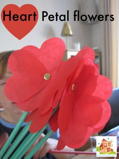 Homemade flowers for kids to make. These fab flower crafts and activities are perfect for kids of all ages collated by Mum in the Mad House Valentine Crafts For Kids, Valentines Day Activities, Mothers Day Crafts, Valentine Day Crafts, Holiday Crafts, Funny Valentine, Paper Flowers For Kids, Tissue Paper Flowers, Paper Roses