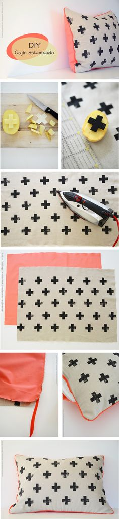Cool DIY Ideas & Tutorials for Teenage Girls' Bedroom Decoration DIY Potato Stamped Pillow with Cross Prints: Create a fun pillow using a potato stamp and fabric ink! An easy and pretty DIY project for teenage… Diy Projects To Try, Craft Projects, Sewing Projects, Craft Ideas, Sewing Tips, Knitting Projects, Sewing Tutorials, Crafts For Teens, Diy And Crafts