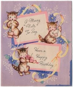 Vintage Greeting Card Kitty Cat Musical Instruments (O185)