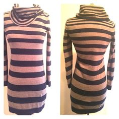 Ann Taylor LOFT stripped Sweater Dress XSP Navy & Dark Grey Fitted Sweater Dress from Ann Taylor Loft! So cute with Tall Tan or Camel Boots! Also looks great with booties or flats... Can be worn out on the town or to work... Super versatile! LOFT Dresses Mini