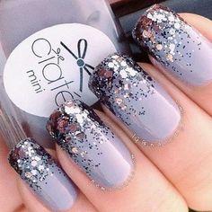 Purple Glitter Tips Nail Design.