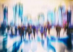 Without sound, we have movement, in a photograph entitled: City People #8 taken by Swedish photographer: Igor Vitomirov as we get lost in the crowded abstraction of dripping lilacs and blues. ♥♥♥