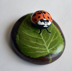 Hand Painted Stone - Ladybug on leaf