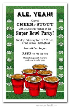 Beer Pong Football Super Bowl Party Invitations Red solo cups on a football field table are ready for a game of beer pong – perfect for Super Bo Party Invitations, Football Invitations, Invitation Ideas, Super Bowl Quotes, Beer Pong Tables, Football Field, Cups, Party Games, Fun Stuff