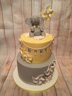 Elephant and pinwheel baby shower cake