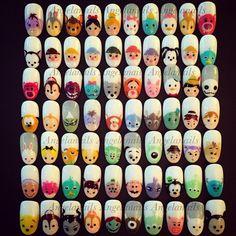 disney tsum tsum nails. Nail Art Disney, Disney Nail Designs, Nail Art Designs, Disney Princess Nails, Get Nails, Love Nails, Gorgeous Nails, Pretty Nails, Diy Ongles